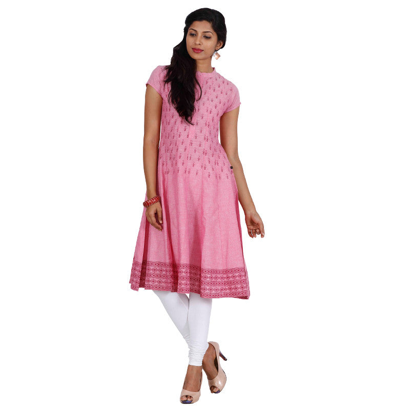 Orchid Smoke All-Over Prints Pure Cotton Anarkali From eSTYLe