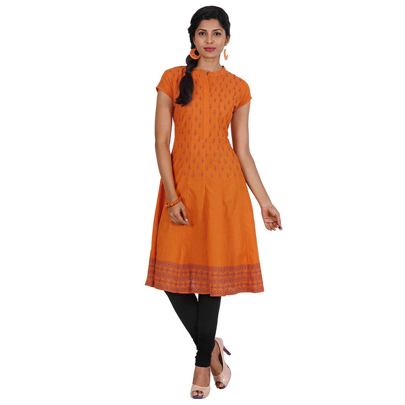 eSTYLe Apricot Orange Cotton Anarkali With Wide Flared-Cut