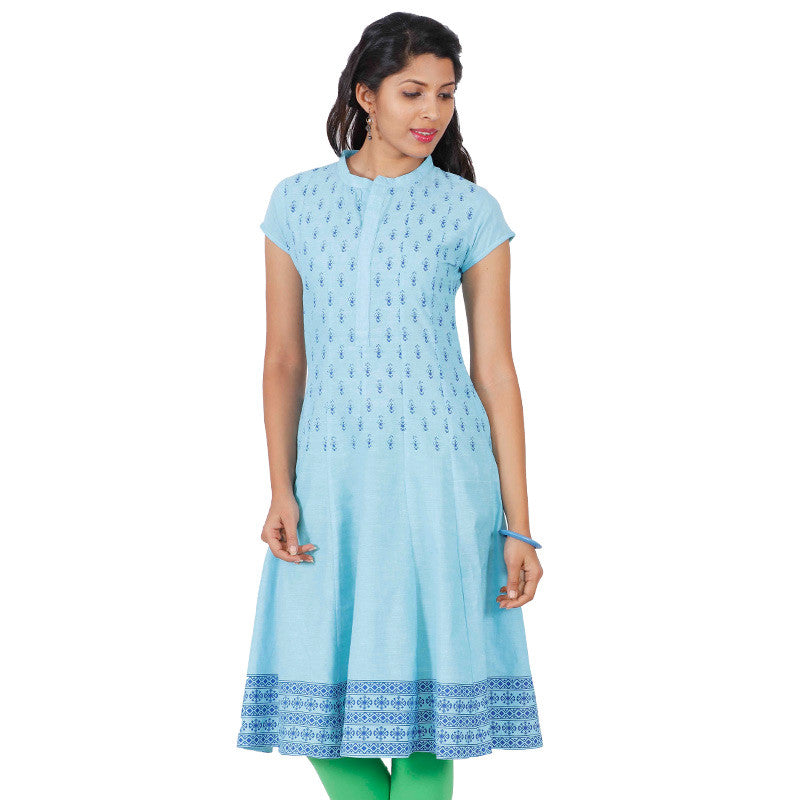 eSTYLe Milky Blue Floral Prints Cotton Anarkali With Flared-Cut