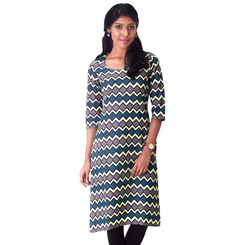 eSTYLe Chevron Patterned Slub-Cotton Straight Cut Kurta