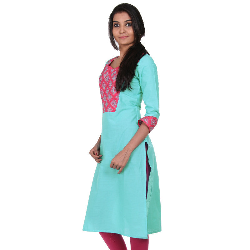 eSTYLe Sky Blue Embroidered Yoke Kurta With Jewel Neckline