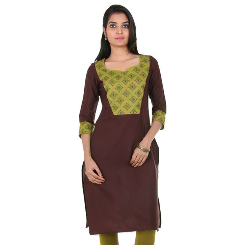 eSTYLe Bitter Chocolate Cotton Kurta With Jewel Neckline