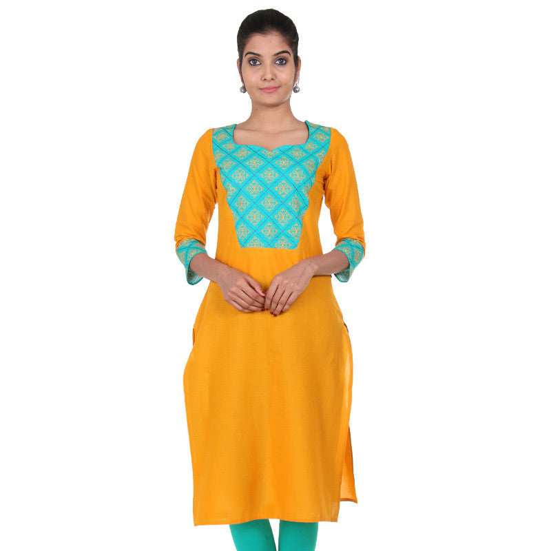 Apricot Yellow 3/4th Sleeves Kurta With Embroidered Cuff