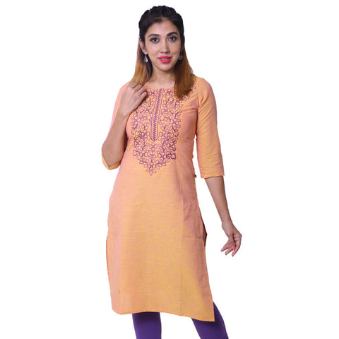 Apricot Nectar Embroidered South Cotton Straight-Cut Kurta