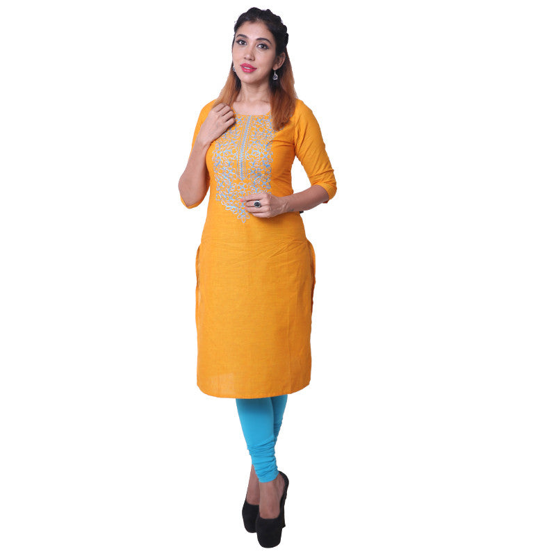 Cadmium Yellow Embroidered South Cotton Straight-Cut Kurta