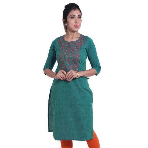 Shaded Spruce Embroidered South Cotton Straight-Cut Kurta