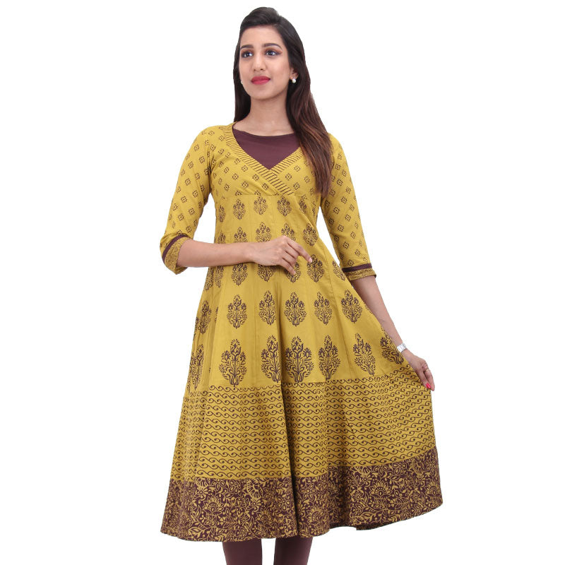 Lemon Curry Cotton Printed Anarkali