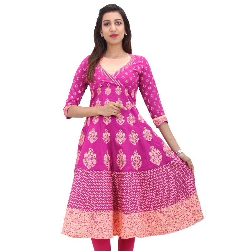 Fuschia Red Cotton Printed Anarkali