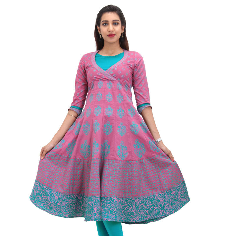 Red Violet Cotton Printed Anarkali