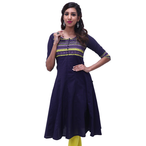 Patriot Blue Printed Cotton Anarkali