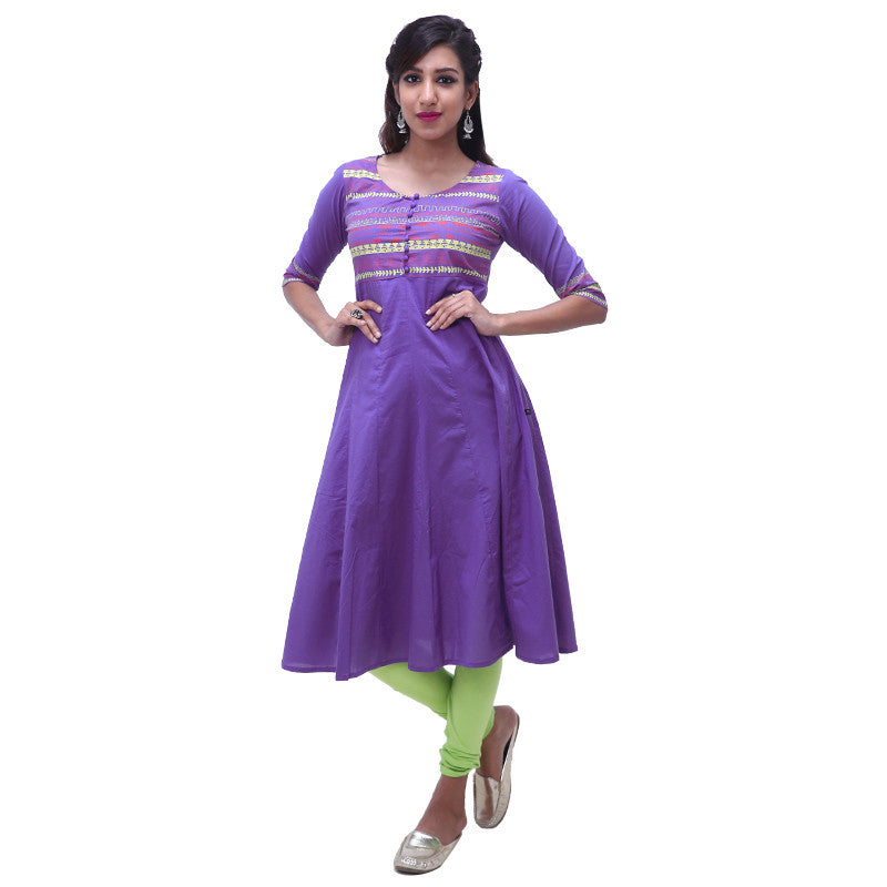 Wedgewood Blue Printed Cotton Anarkali