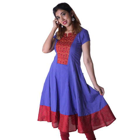 Elegant Mazarine Blue Cotton Anarkali Kurta