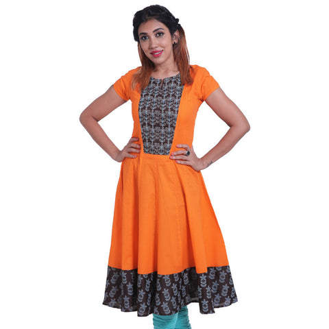 Elegant Orange Popsicle Cotton Anarkali Kurta
