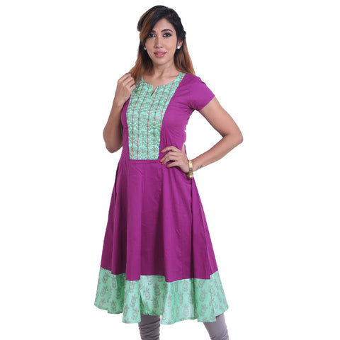 Elegant Bright Violet Cotton Anarkali Kurta