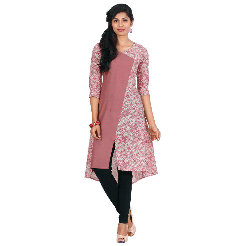eSTYLe Deco Rose Jewel Neckline Cotton Kurta