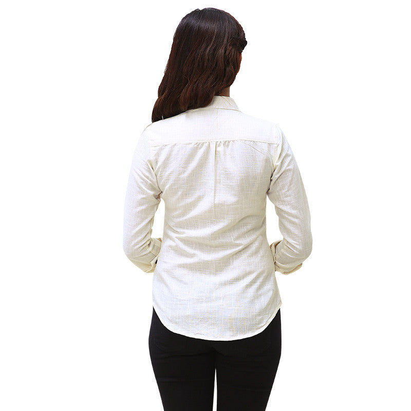 Winter White Cotton Classic Casual Shirt