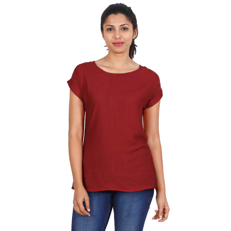 Lipstick Red Round Neckline Rayon Trendy Top From eSTYLe