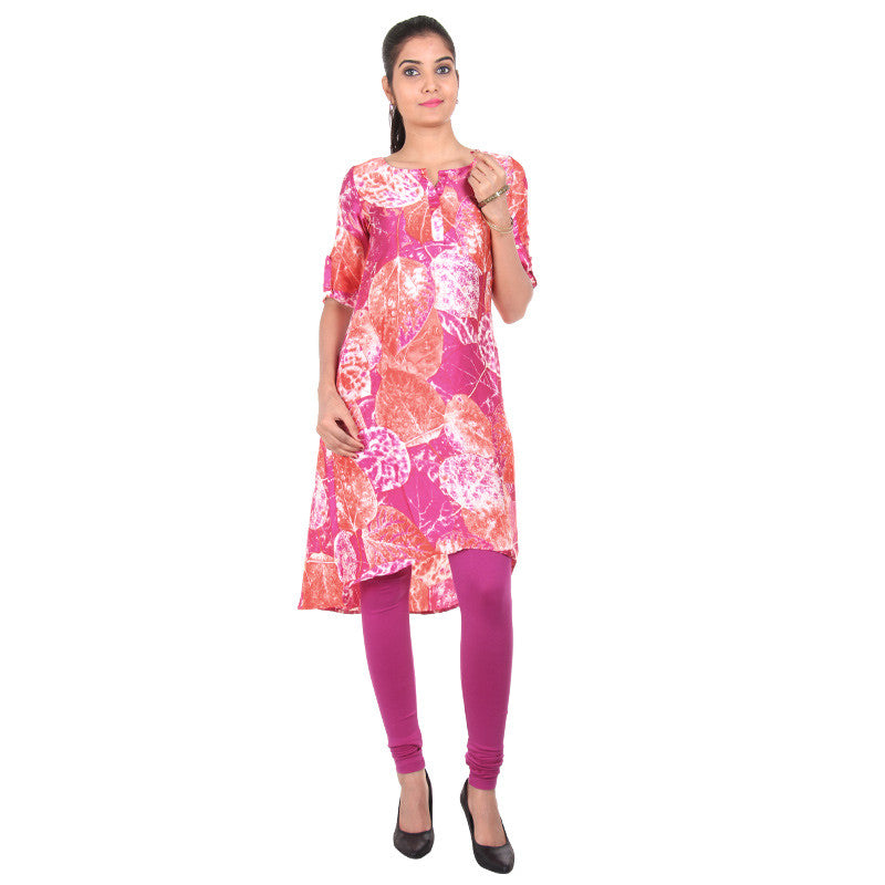 Pink N' Orange Smoothy Touch Asymmetric Kurta From eSTYLe