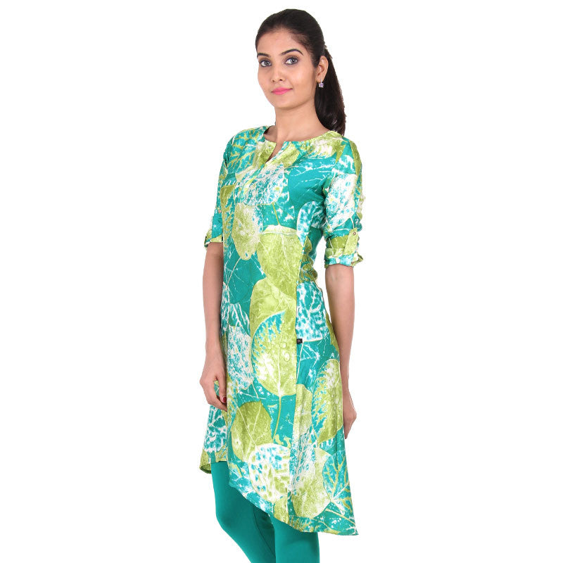 Teal N' Leaf Green Asymmetric Kurta With Dyed Prints From eSTYLe