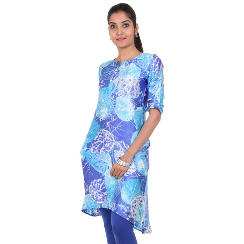 eSTYLe Violet N' Sky Blue High-Low Hem Kurta With Side Pockets