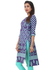 Twilight Blue Printed Hi-Low Cotton Kurta