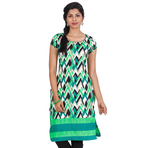Multi Colour ZigZag Motifs Straight-Cut Kurta From eSTYLe