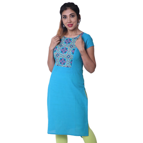 Blue Jewel Embroidered Straight Cut Kurta