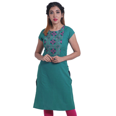 Deep Lake Embroidered Straight Cut Kurta