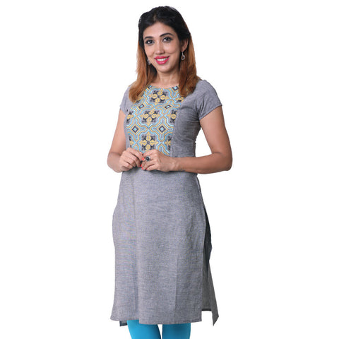 Frost Gray Embroidered Straight Cut Kurta