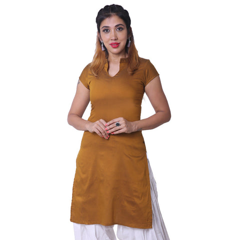 Golden Brown Notch Collar Straight Cut Poly Cotton Kurta