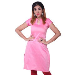 Sachet Pink Notch Collar Straight Cut Poly Cotton Kurta