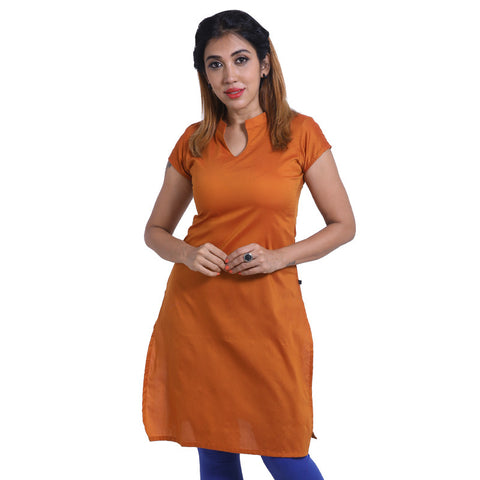 Burnt Orange Notch Collar Straight Cut Poly Cotton Kurta