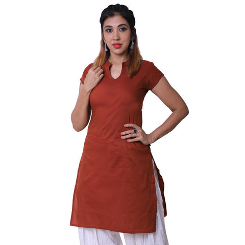Arabian Spice Notch Collar Straight Cut Poly Cotton Kurta