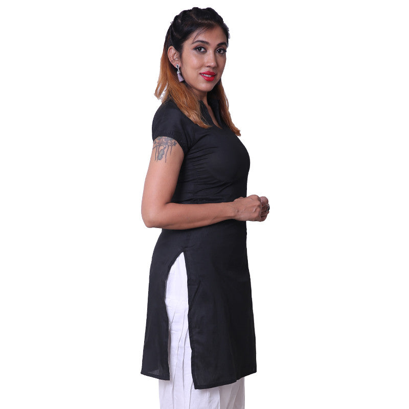 Phantom Black Notch Collar Straight Cut Poly Cotton Kurta