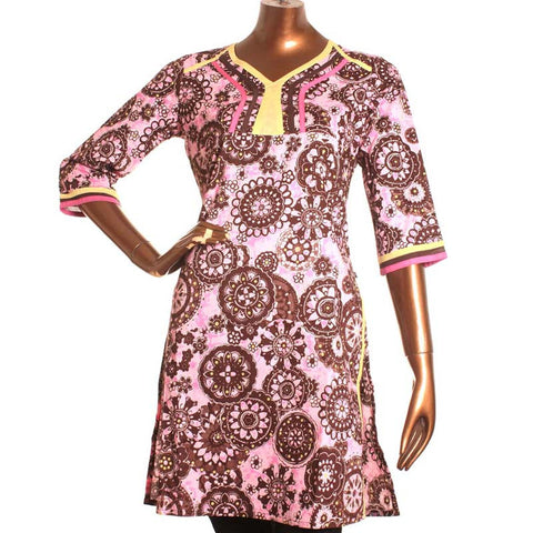 Rose N' Brown All-Over Printed Cotton Kurta From eSTYLe