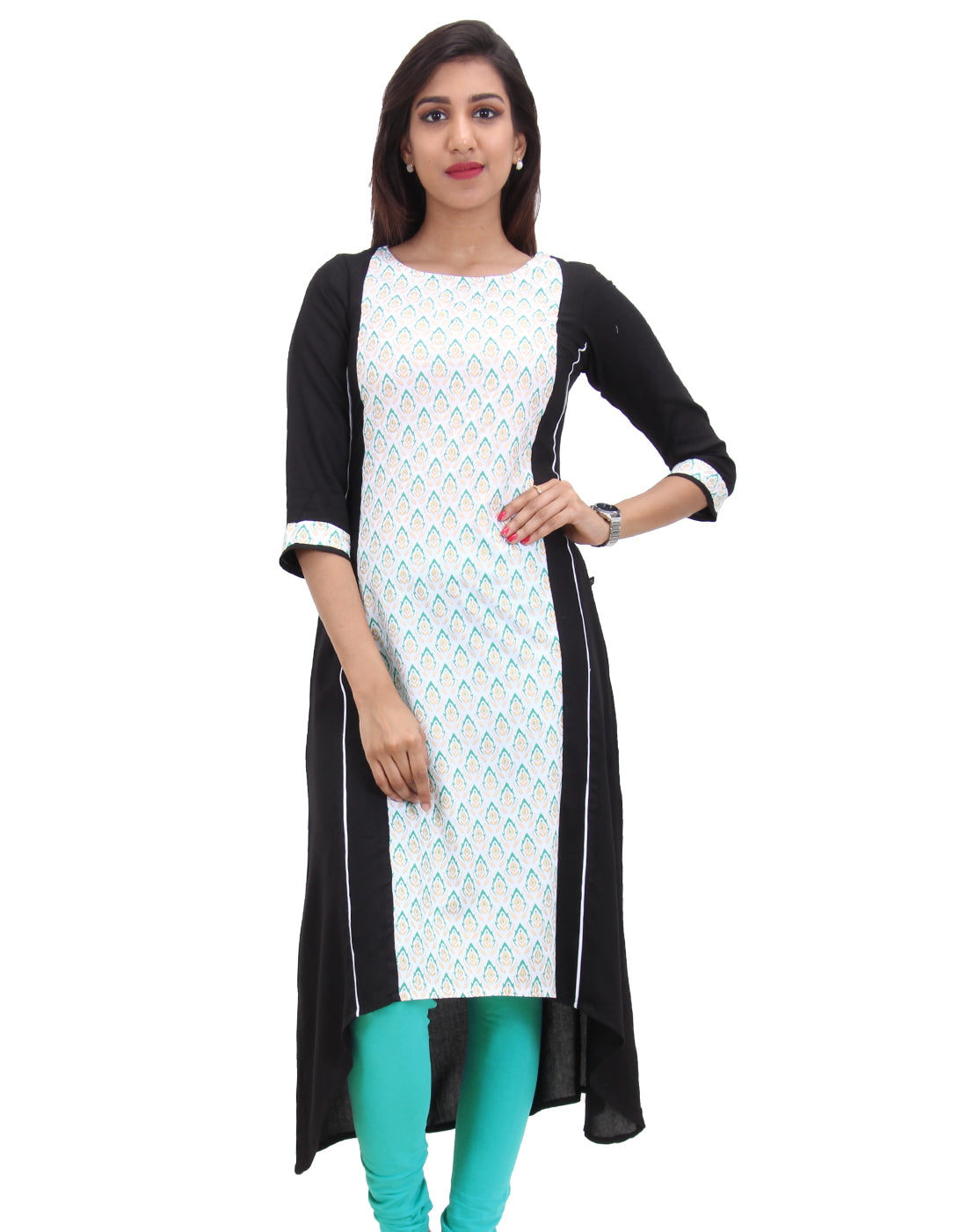 Moonless Night Asymmetrical Hemline Rayon Anarkali