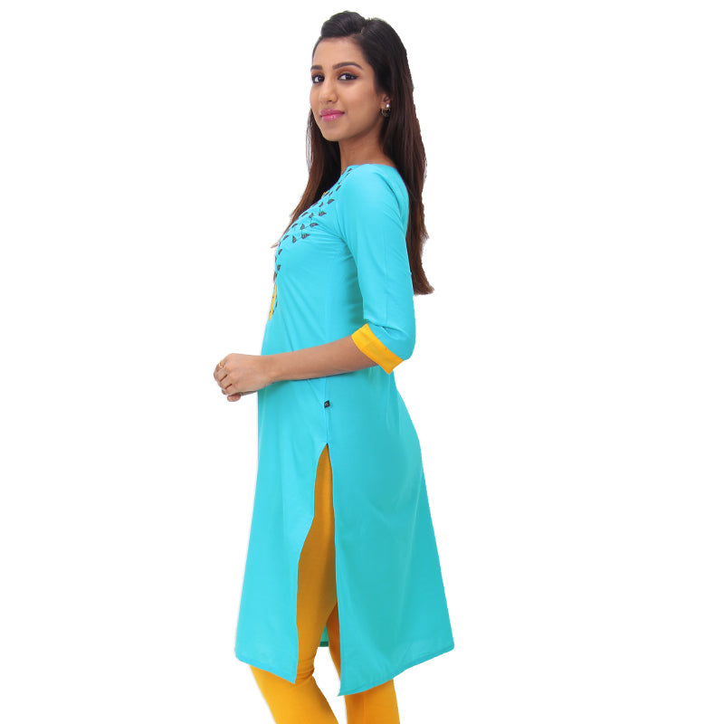 Scuba Blue Embroidered Straight-Cut Cotton Kurta