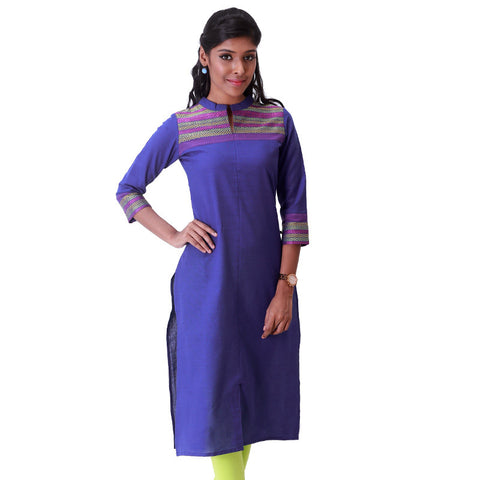 Olympian Blue Stand Collar Straight - Cut Kurta