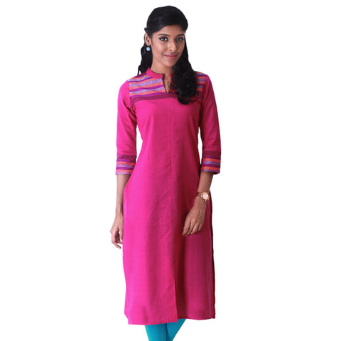 Beetroot Purple Stand Collar Straight - Cut Kurta
