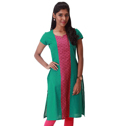 Cadmium Green South Cotton Straight-Cut Kurta