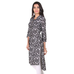 Jet Black Button Placket Kurta With High-Low Hem