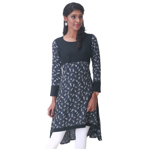 Jet Black Floral Printed High Low Hemline Rayon Anarkali