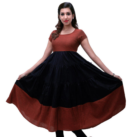 Raven Black Cotton Layered Anarkali