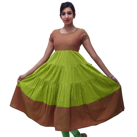 Macaw Green Cotton Layered Anarkali