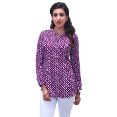 Dark Purple Printed Rayon Tunic