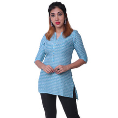 Blue Jewel Geometric Printed Viscose Tunic