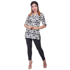 Moonless Night Geometric Printed Viscose Tunic