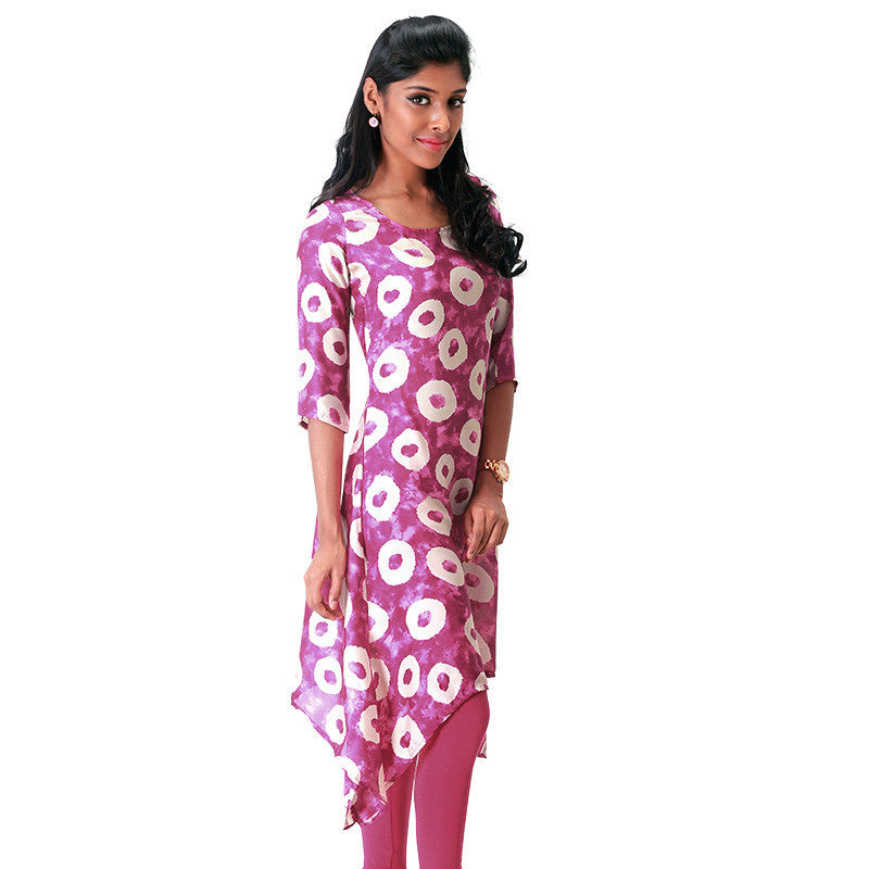 Geometric Circle Prints on Magenta Haze Satin Kurta From eSTYLe