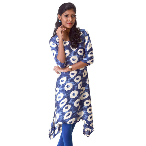 Geometric Circle Prints on Dark Blue Satin Kurta From eSTYLe