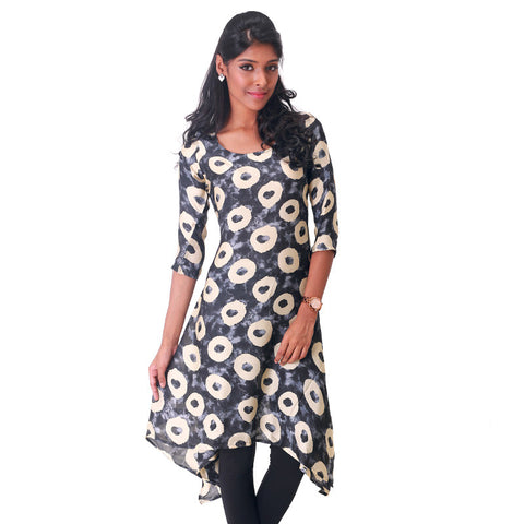 Geometric Circle Prints on Jet Black Satin Kurta From eSTYLe